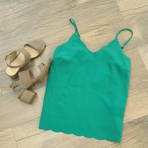 Nwt green scalloped top